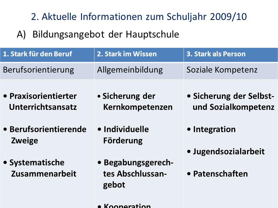 2. Aktuelle Informationen zum Schuljahr 2009/10 A)Bildungsangebot der Hauptschule 1. Stark für den Beruf2. Stark im Wissen3. Stark als Person Berufsor
