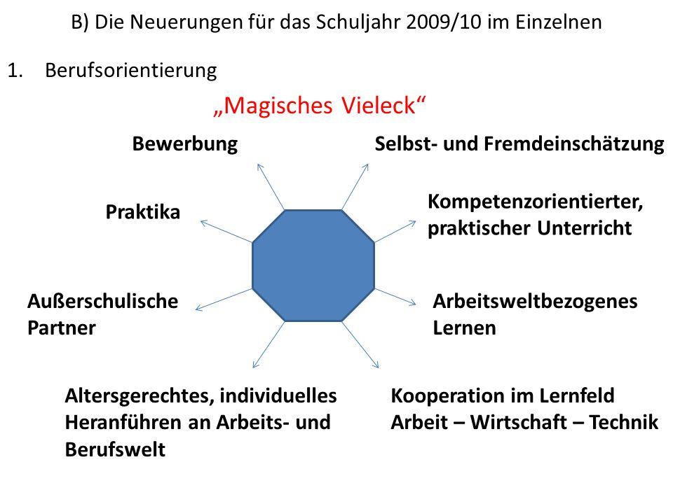 B) Die Neuerungen für das Schuljahr 2009/10 im Einzelnen 1.Berufsorientierung Magisches Vieleck Selbst- und Fremdeinschätzung Kompetenzorientierter, p
