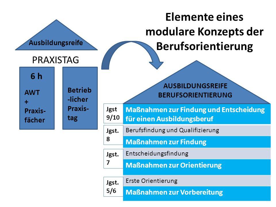 Elemente eines modulare Konzepts der Berufsorientierung PRAXISTAG Ausbildungsreife 6 h AWT + Praxis- fächer Betrieb -licher Praxis- tag Maßnahmen zur