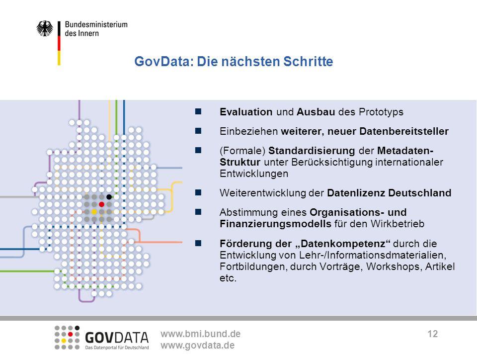 www.bmi.bund.de www.govdata.de Evaluation und Ausbau des Prototyps Einbeziehen weiterer, neuer Datenbereitsteller (Formale) Standardisierung der Metad