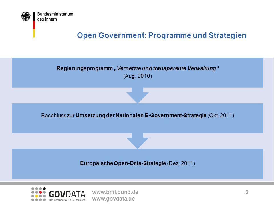 www.bmi.bund.de www.govdata.de Die Basis: Open Government Data TransparenzTransparenzKooperationKooperation Open Government PartizipationPartizipation Open Government Data 4