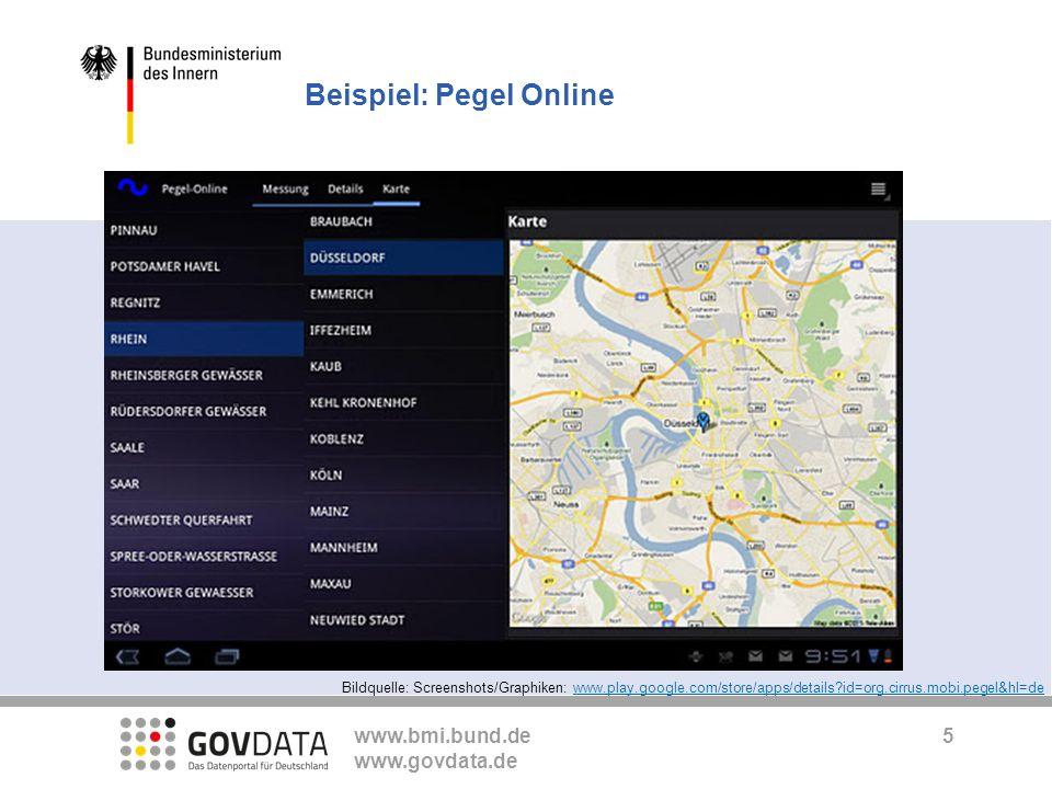 www.bmi.bund.de www.govdata.de Beispiel: Pegel Online 5 Bildquelle: Screenshots/Graphiken: www.play.google.com/store/apps/details?id=org.cirrus.mobi.p