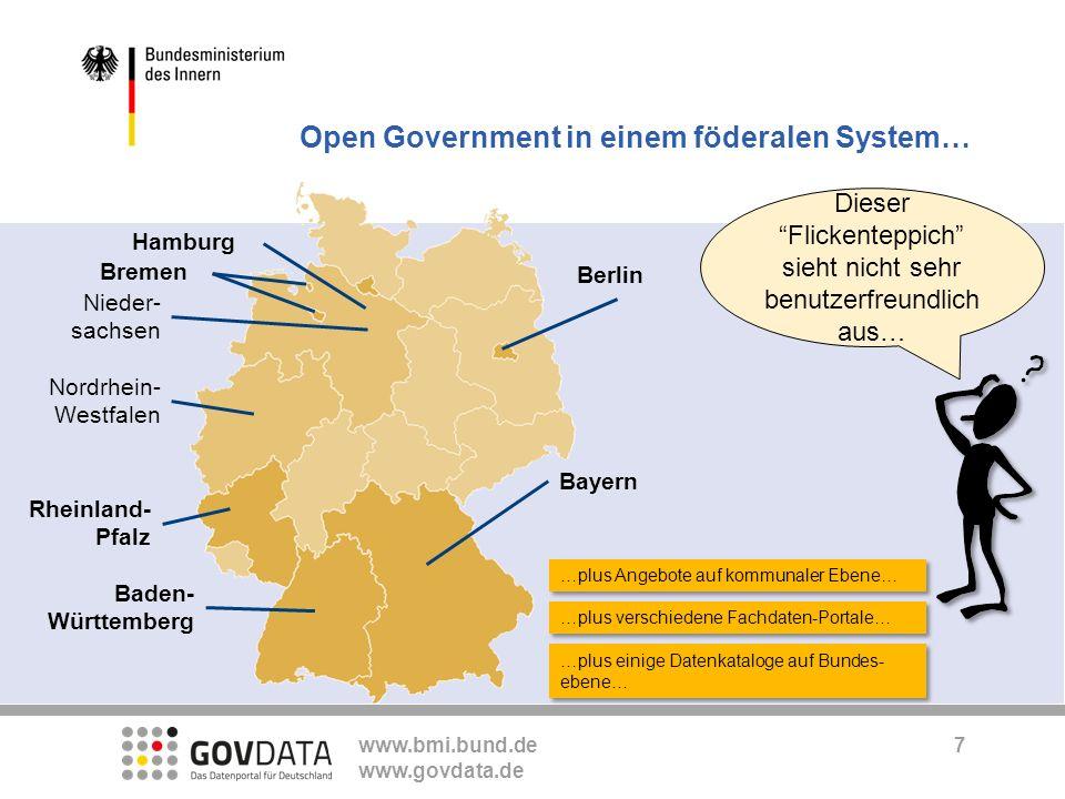www.bmi.bund.de www.govdata.de …plus Angebote auf kommunaler Ebene… Dieser Flickenteppich sieht nicht sehr benutzerfreundlich aus… …plus verschiedene
