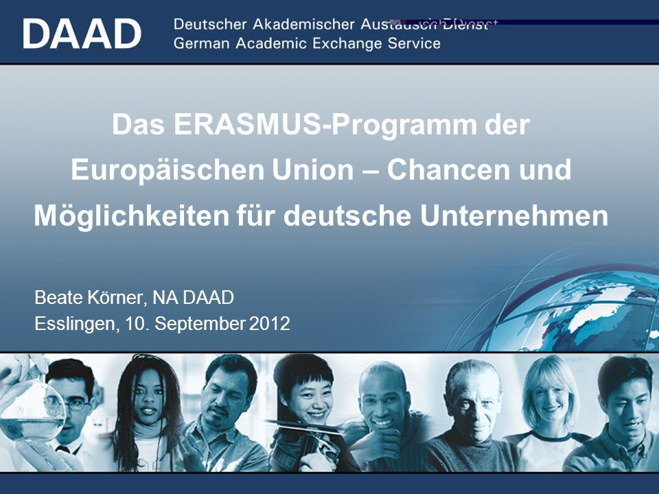 Das ERASMUS-Programm der Europäischen Union – Chancen und Möglichkeiten für deutsche Unternehmen Beate Körner, NA DAAD Esslingen, 10. September 2012