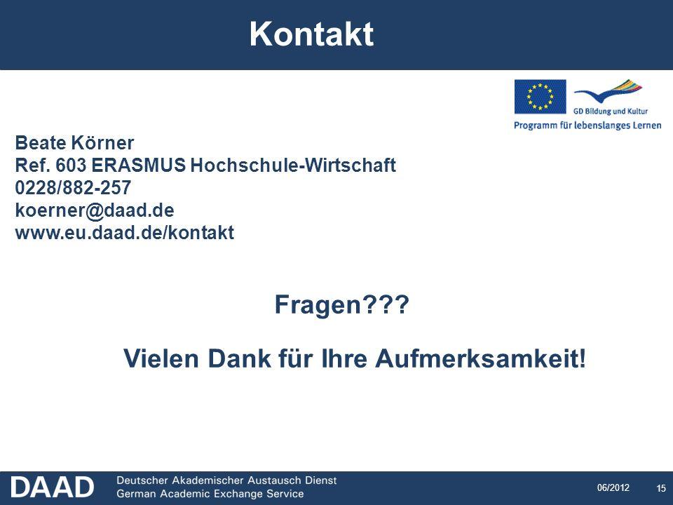 15 06/2012 Beate Körner Ref. 603 ERASMUS Hochschule-Wirtschaft 0228/882-257 koerner@daad.de www.eu.daad.de/kontakt Fragen??? Vielen Dank für Ihre Aufm