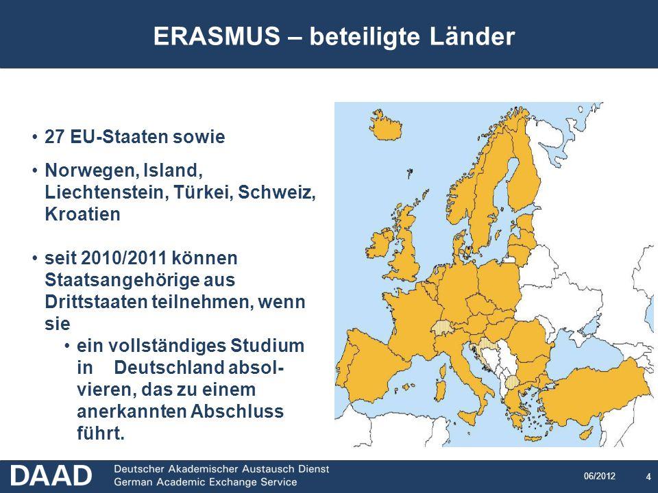 4 06/2012 ERASMUS – beteiligte Länder 27 EU-Staaten sowie Norwegen, Island, Liechtenstein, Türkei, Schweiz, Kroatien seit 2010/2011 können Staatsangeh