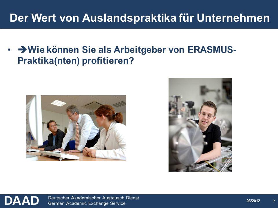 7 06/2012 7 Der Wert von Auslandspraktika für Unternehmen Wie können Sie als Arbeitgeber von ERASMUS- Praktika(nten) profitieren?