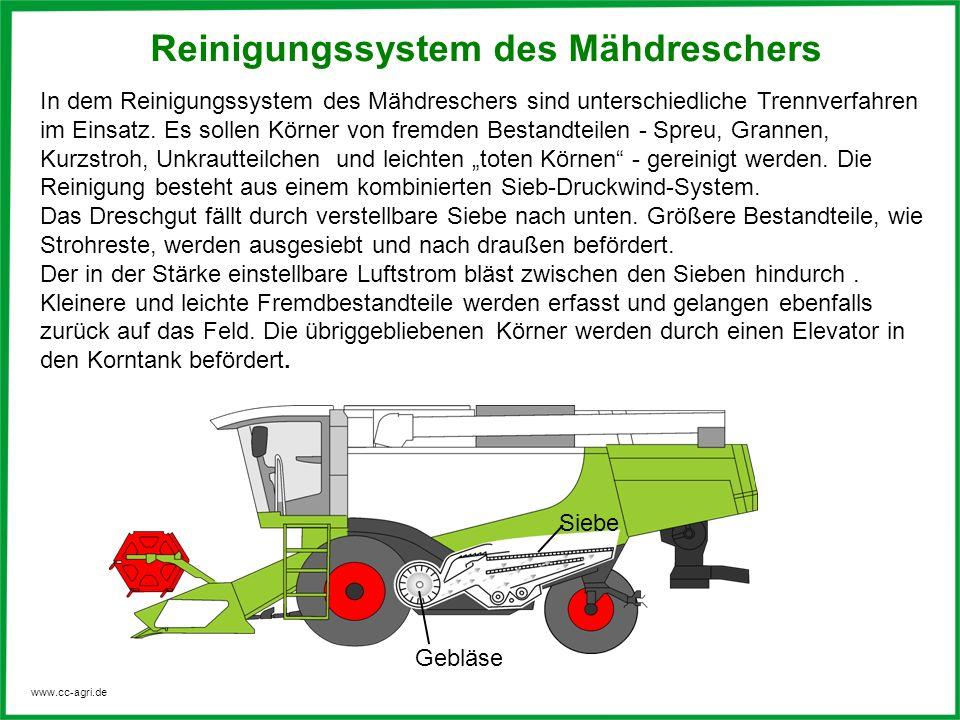 www.cc-agri.de In dem Reinigungssystem des Mähdreschers sind unterschiedliche Trennverfahren im Einsatz. Es sollen Körner von fremden Bestandteilen -