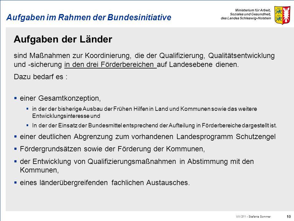 Ministerium für Arbeit, Soziales und Gesundheit, des Landes Schleswig-Holstein Aufgaben im Rahmen der Bundesinitiative Aufgaben der Länder sind Maßnah