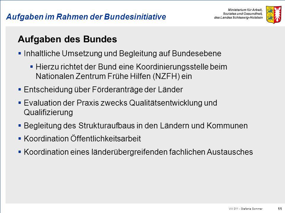 Ministerium für Arbeit, Soziales und Gesundheit, des Landes Schleswig-Holstein Aufgaben im Rahmen der Bundesinitiative Aufgaben des Bundes Inhaltliche