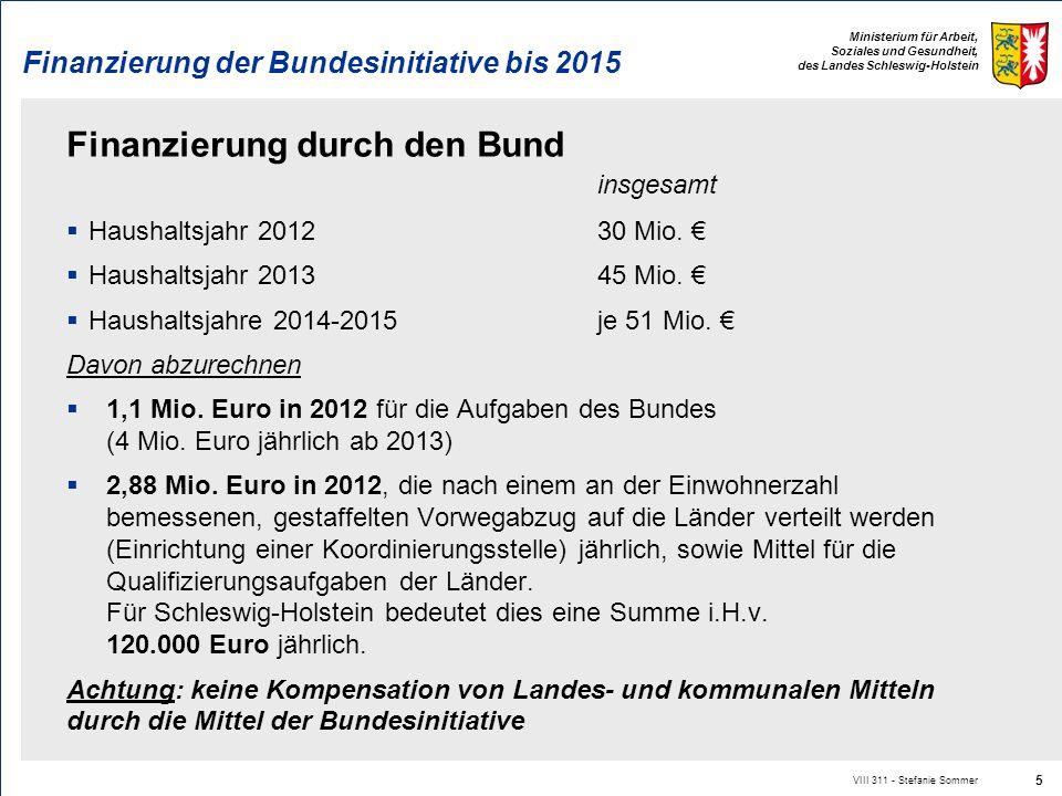 Ministerium für Arbeit, Soziales und Gesundheit, des Landes Schleswig-Holstein Finanzierung der Bundesinitiative bis 2015 Finanzierung durch den Bund