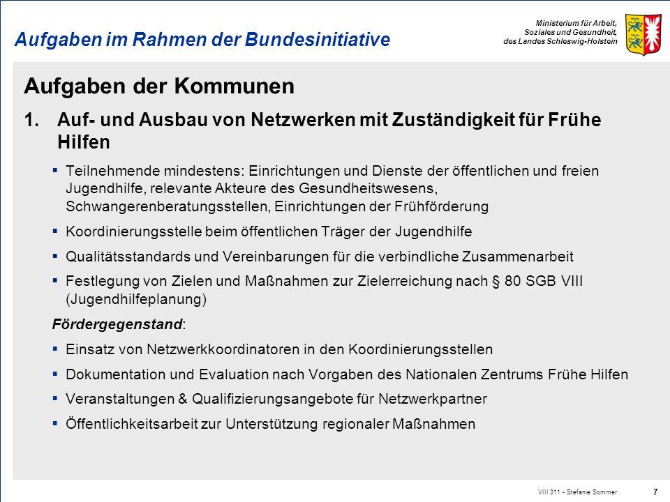 Ministerium für Arbeit, Soziales und Gesundheit, des Landes Schleswig-Holstein Aufgaben im Rahmen der Bundesinitiative Aufgaben der Kommunen 1.Auf- un