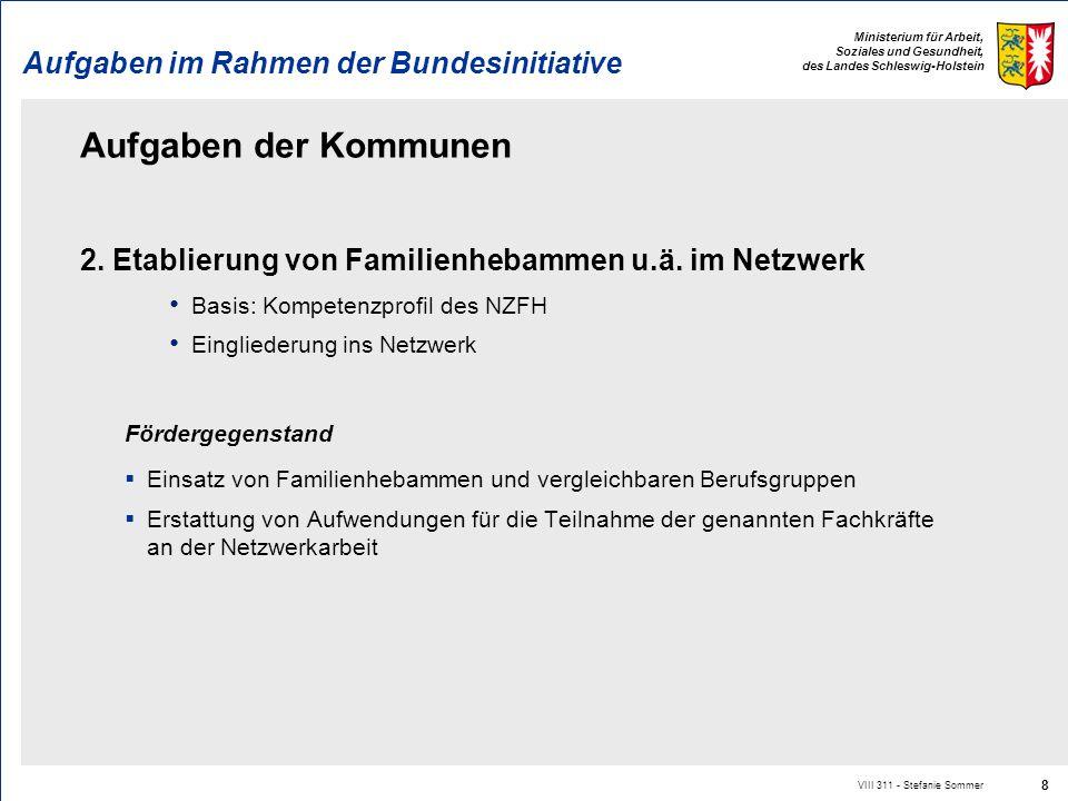 Ministerium für Arbeit, Soziales und Gesundheit, des Landes Schleswig-Holstein Aufgaben im Rahmen der Bundesinitiative Aufgaben der Kommunen 2. Etabli
