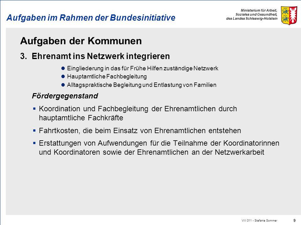 Ministerium für Arbeit, Soziales und Gesundheit, des Landes Schleswig-Holstein Aufgaben im Rahmen der Bundesinitiative Aufgaben der Kommunen 3. Ehrena