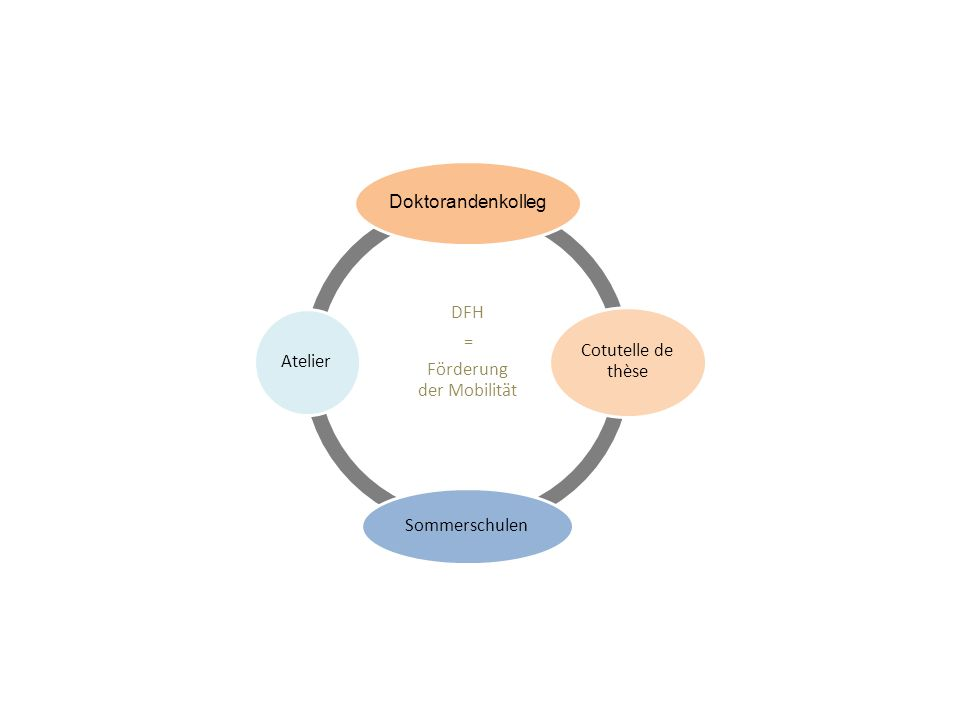 DFH = Förderung der Mobilität der Mobilität Doktorandenkolleg Cotutelle de thèse Sommerschulen Atelier