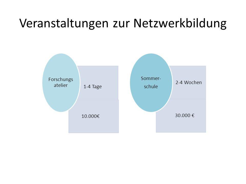 1-4 Tage 10.000 Forschungs atelier 2 2-4 Wochen 30.000 Sommer- schule Veranstaltungen zur Netzwerkbildung