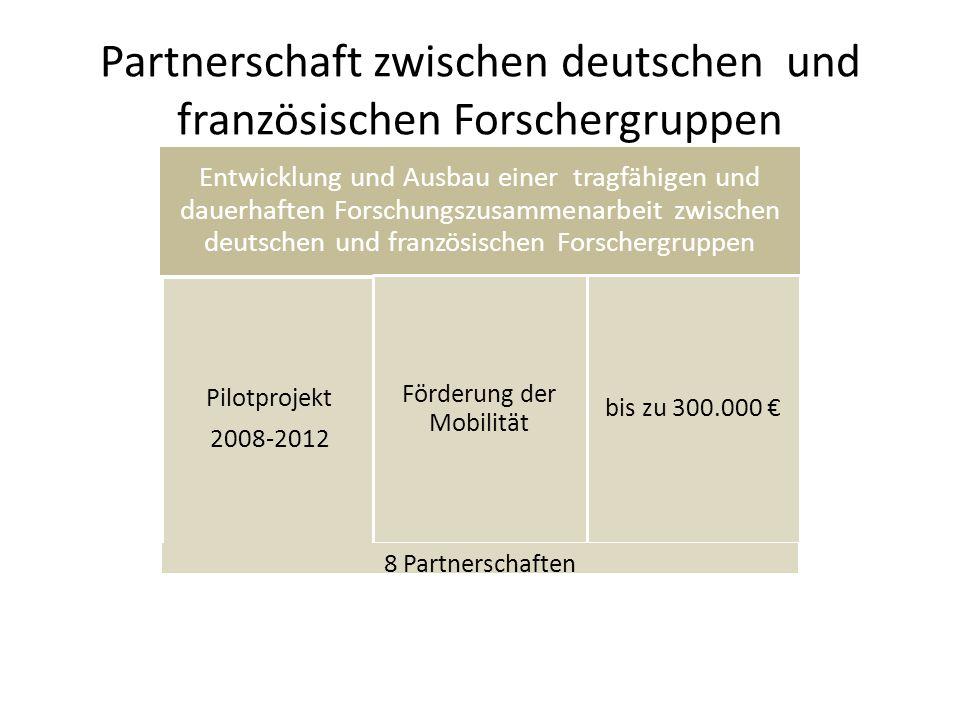 Partnerschaft zwischen deutschen und französischen Forschergruppen Entwicklung und Ausbau einer tragfähigen und dauerhaften Forschungszusammenarbeit zwischen deutschen und französischen Forschergruppen Pilotprojekt 2008-2012 Förderung der Mobilität bis zu 300.000 8 Partnerschaften