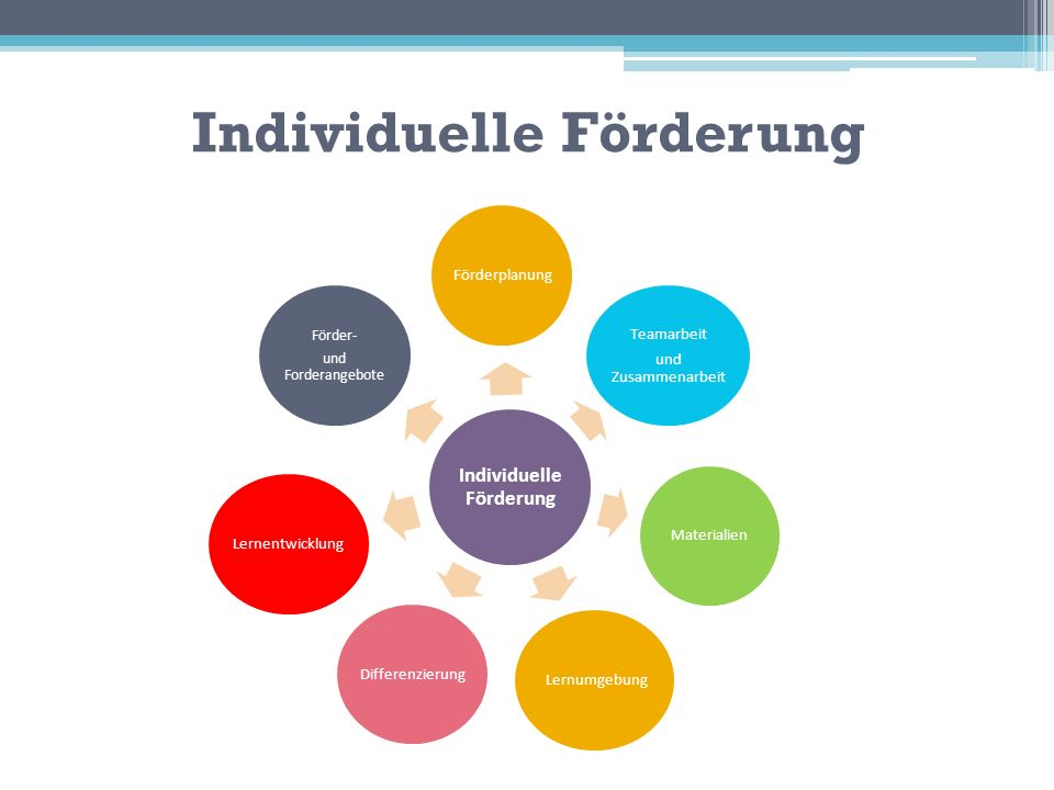 Individuelle Förderung Förderplanung Teamarbeit und Zusammenarbeit Materialien LernumgebungDifferenzierungLernentwicklung Förder- und Forderangebote