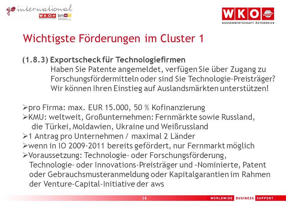 14 Wichtigste Förderungen im Cluster 1 (1.8.3) Exportscheck für Technologiefirmen Haben Sie Patente angemeldet, verfügen Sie über Zugang zu Forschungsfördermitteln oder sind Sie Technologie-Preisträger.