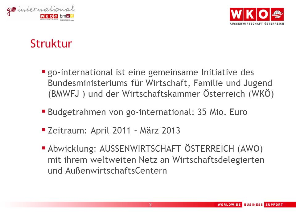 2 Struktur go-international ist eine gemeinsame Initiative des Bundesministeriums für Wirtschaft, Familie und Jugend (BMWFJ ) und der Wirtschaftskammer Österreich (WKÖ) Budgetrahmen von go-international: 35 Mio.