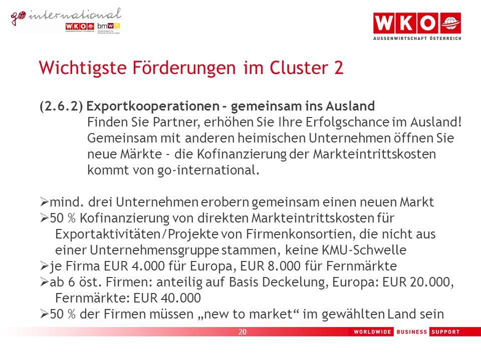 20 Wichtigste Förderungen im Cluster 2 (2.6.2) Exportkooperationen - gemeinsam ins Ausland Finden Sie Partner, erhöhen Sie Ihre Erfolgschance im Ausland.