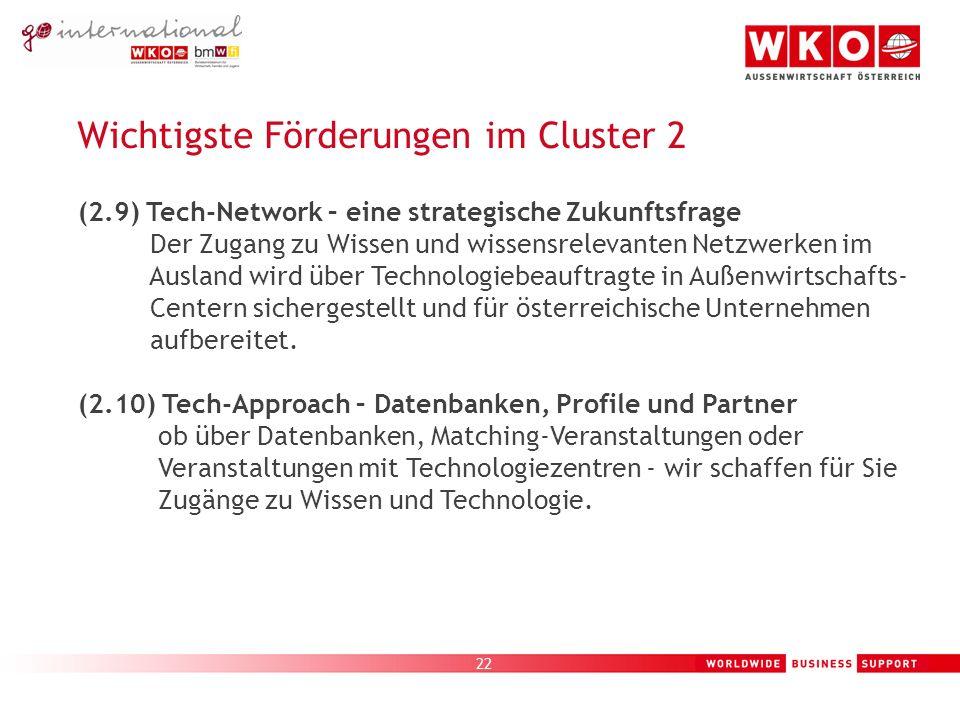 22 Wichtigste Förderungen im Cluster 2 (2.9) Tech-Network – eine strategische Zukunftsfrage Der Zugang zu Wissen und wissensrelevanten Netzwerken im Ausland wird über Technologiebeauftragte in Außenwirtschafts- Centern sichergestellt und für österreichische Unternehmen aufbereitet.