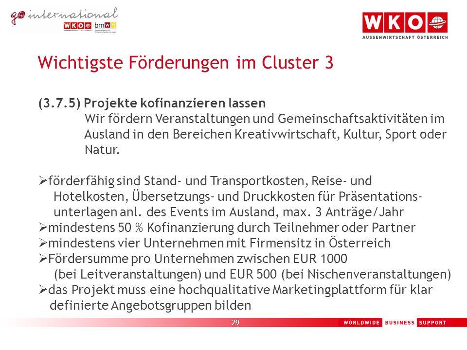29 Wichtigste Förderungen im Cluster 3 (3.7.5) Projekte kofinanzieren lassen Wir fördern Veranstaltungen und Gemeinschaftsaktivitäten im Ausland in den Bereichen Kreativwirtschaft, Kultur, Sport oder Natur.