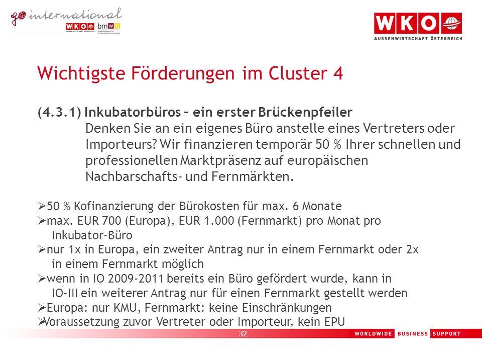 32 Wichtigste Förderungen im Cluster 4 (4.3.1) Inkubatorbüros – ein erster Brückenpfeiler Denken Sie an ein eigenes Büro anstelle eines Vertreters oder Importeurs.