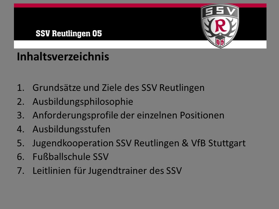 Inhaltsverzeichnis 1.Grundsätze und Ziele des SSV Reutlingen 2.Ausbildungsphilosophie 3.Anforderungsprofile der einzelnen Positionen 4.Ausbildungsstuf