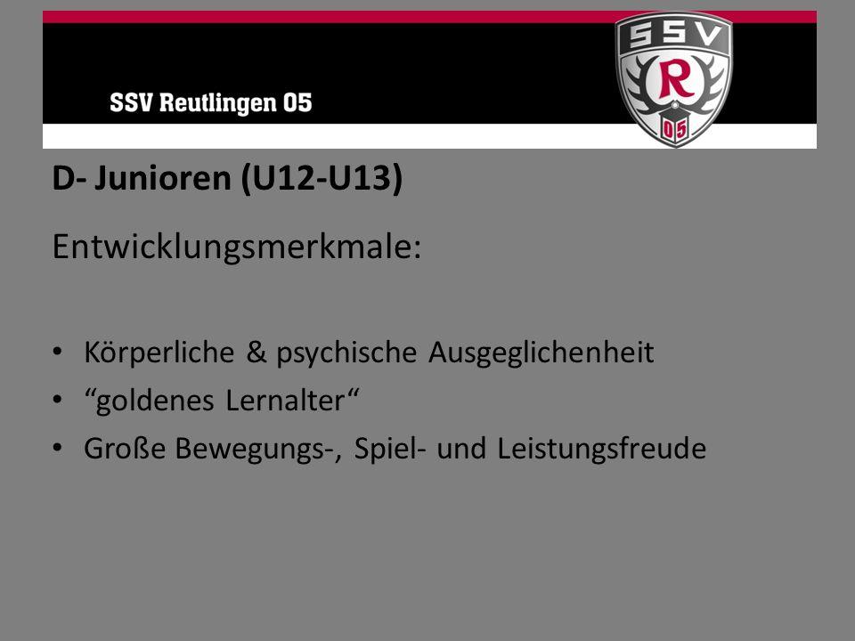 D- Junioren (U12-U13) Entwicklungsmerkmale: Körperliche & psychische Ausgeglichenheit goldenes Lernalter Große Bewegungs-, Spiel- und Leistungsfreude