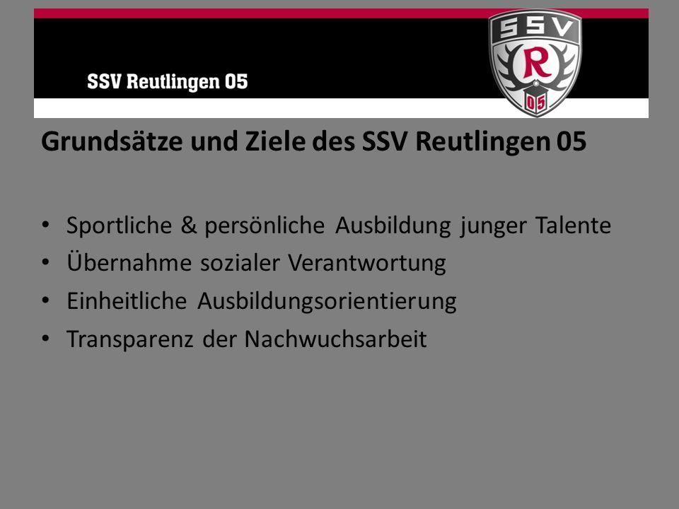 Grundsätze und Ziele des SSV Reutlingen 05 Sportliche & persönliche Ausbildung junger Talente Übernahme sozialer Verantwortung Einheitliche Ausbildung