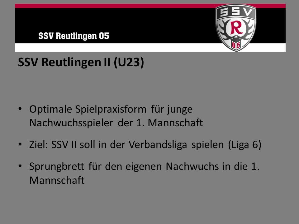 SSV Reutlingen II (U23) Optimale Spielpraxisform für junge Nachwuchsspieler der 1. Mannschaft Ziel: SSV II soll in der Verbandsliga spielen (Liga 6) S