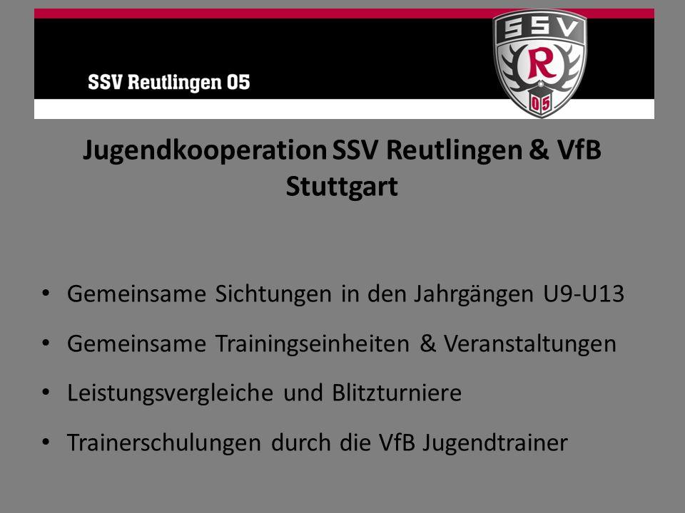 Jugendkooperation SSV Reutlingen & VfB Stuttgart Gemeinsame Sichtungen in den Jahrgängen U9-U13 Gemeinsame Trainingseinheiten & Veranstaltungen Leistu