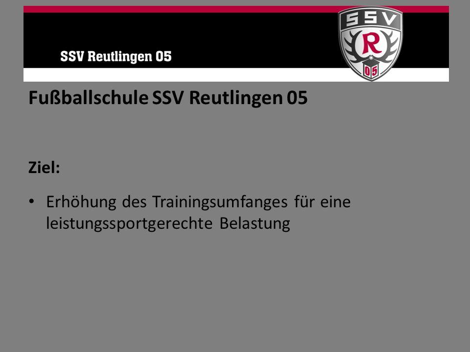 Fußballschule SSV Reutlingen 05 Ziel: Erhöhung des Trainingsumfanges für eine leistungssportgerechte Belastung