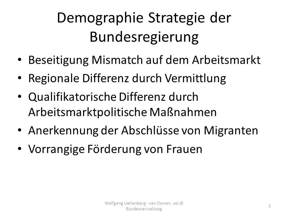 Demographie Strategie der Bundesregierung Erwerbstätigen Quote Frauen auf 73 % – Derzeit 70 % – 34 % Teilzeitbeschäftigte längere Arbeitszeit D: 18,5 Stunden Teilzeit; Skandinavien:25 Stunden) – 1,2 Mio.