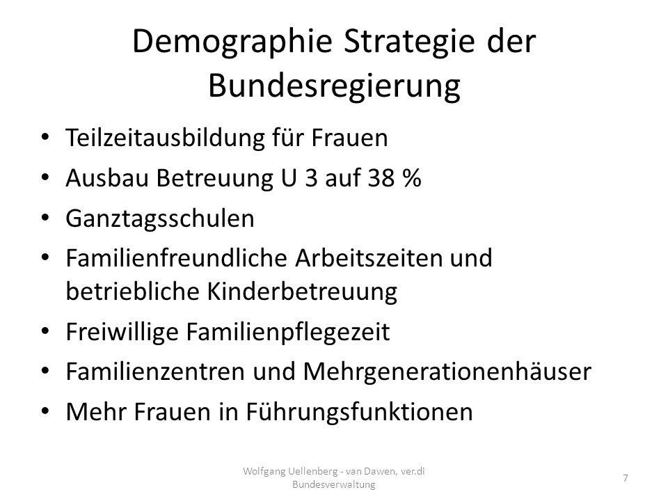Demographie Strategie der Bundesregierung Mehr Kinderbildung und Kinderbetreuung Halbierung Jgdl.