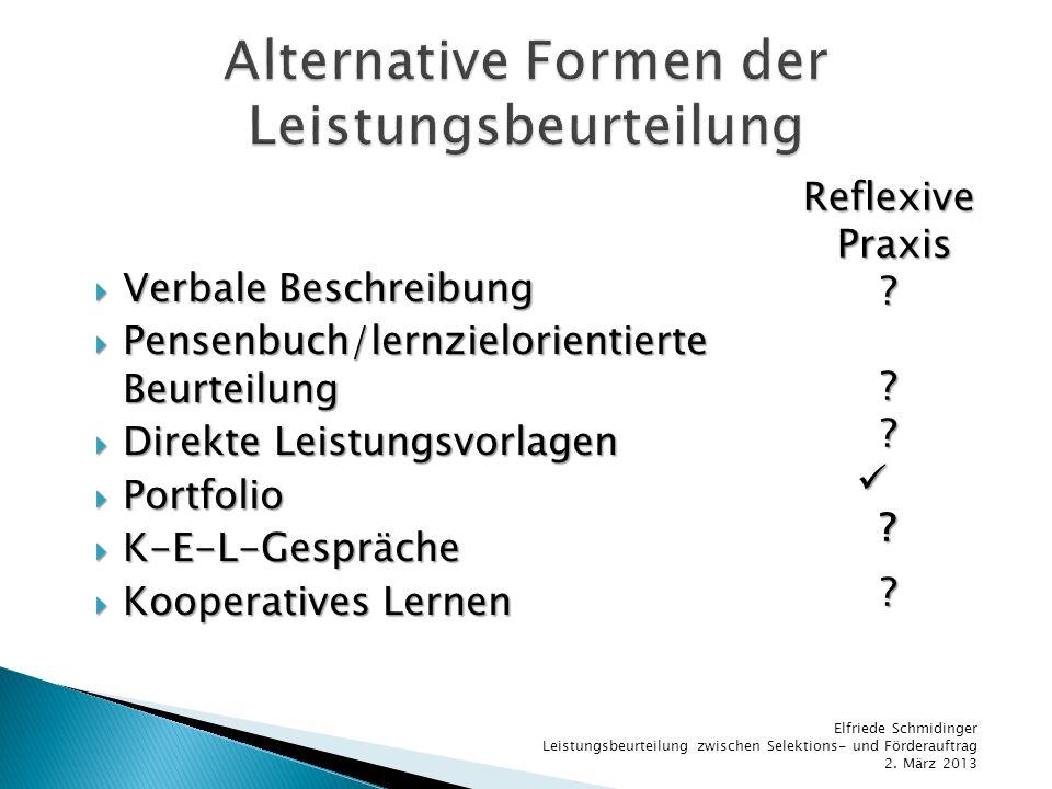 Verbale Beschreibung Verbale Beschreibung Pensenbuch/lernzielorientierte Beurteilung Pensenbuch/lernzielorientierte Beurteilung Direkte Leistungsvorla
