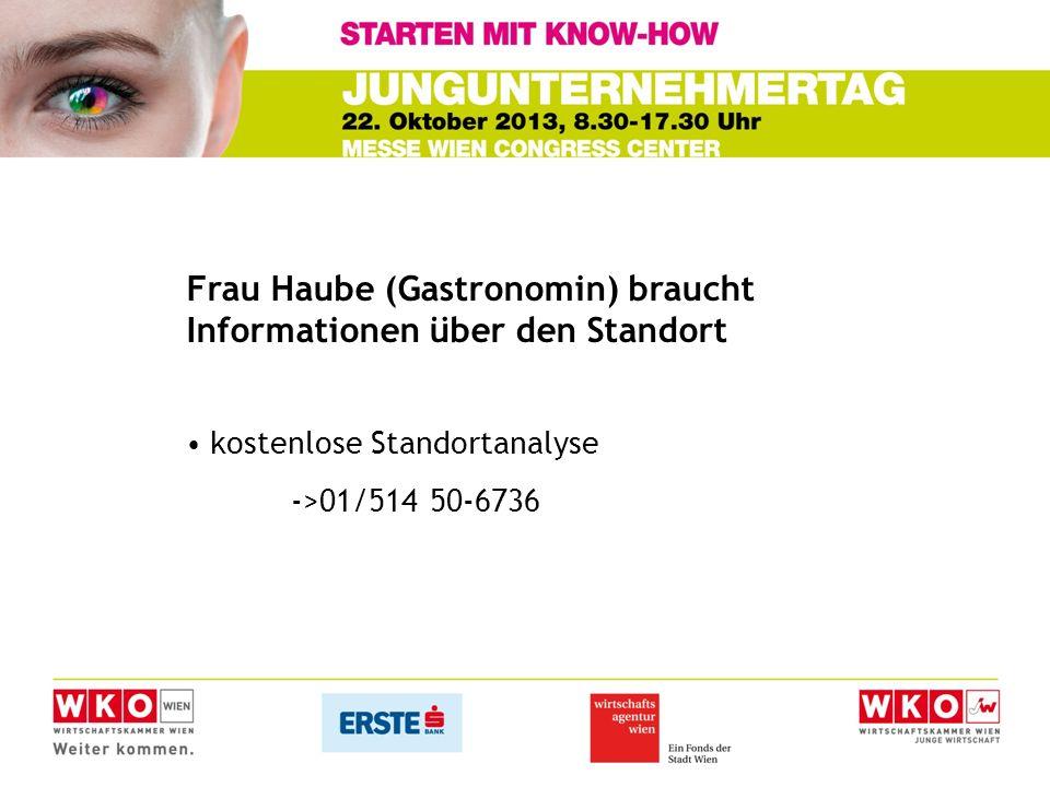 Frau Haube (Gastronomin) braucht Informationen über den Standort kostenlose Standortanalyse ->01/514 50-6736
