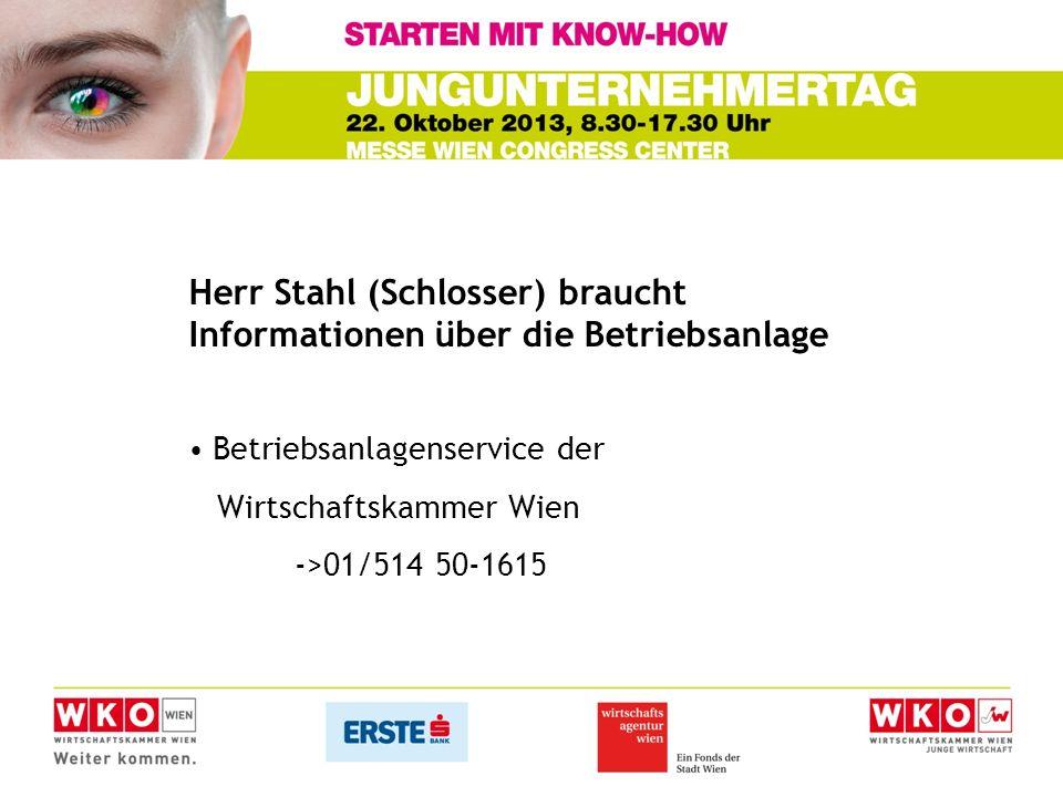 Herr Stahl (Schlosser) braucht Informationen über die Betriebsanlage Betriebsanlagenservice der Wirtschaftskammer Wien ->01/514 50-1615