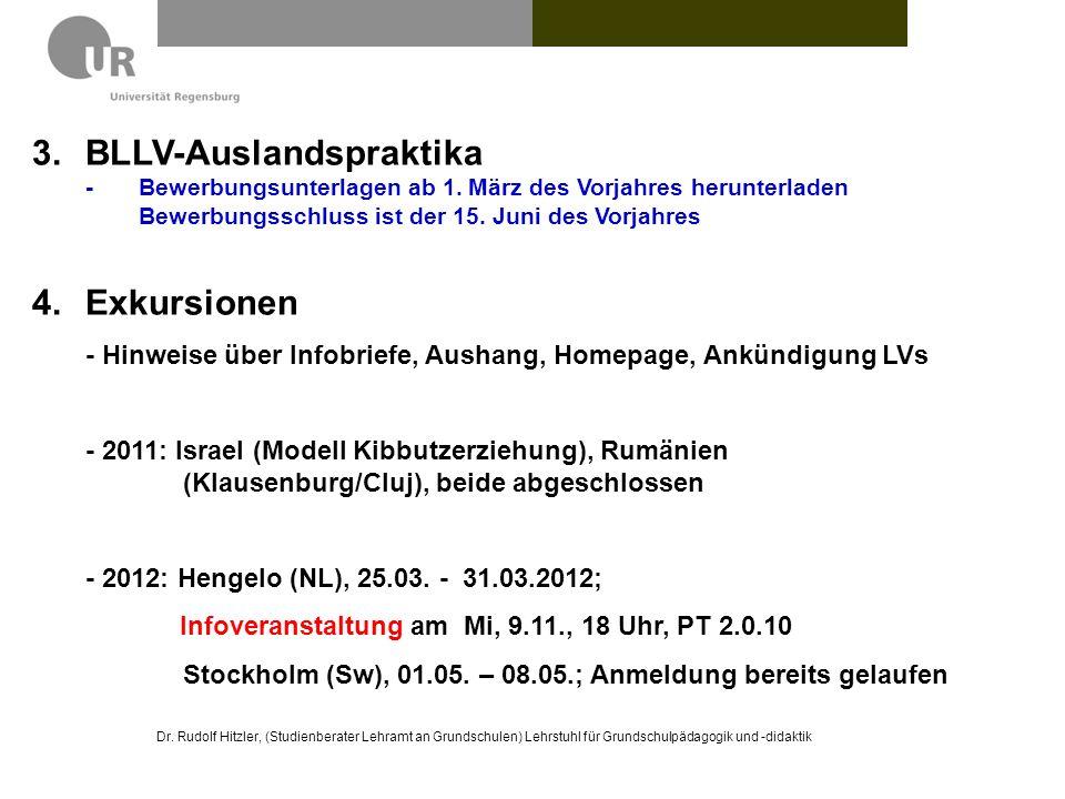 Dr. Rudolf Hitzler, (Studienberater Lehramt an Grundschulen) Lehrstuhl für Grundschulpädagogik und -didaktik 3.BLLV-Auslandspraktika - Bewerbungsunter