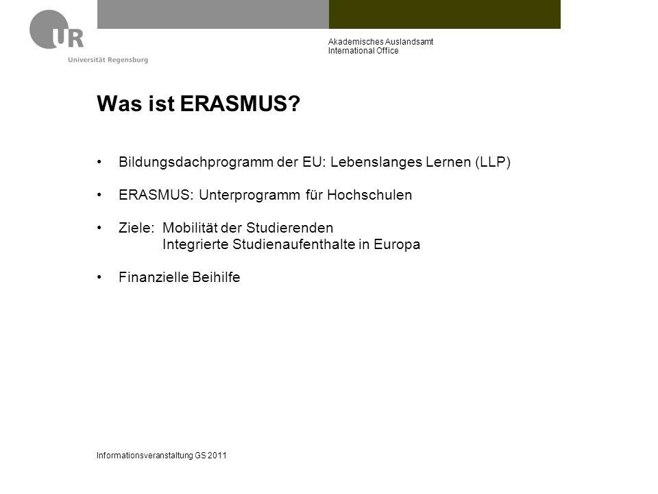 Was ist ERASMUS? Bildungsdachprogramm der EU: Lebenslanges Lernen (LLP) ERASMUS: Unterprogramm für Hochschulen Ziele:Mobilität der Studierenden Integr