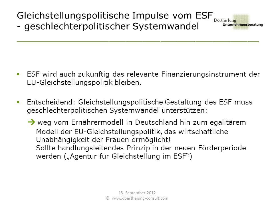 Gleichstellungspolitische Impulse vom ESF - geschlechterpolitischer Systemwandel __________________________________________ ESF wird auch zukünftig das relevante Finanzierungsinstrument der EU-Gleichstellungspolitik bleiben.