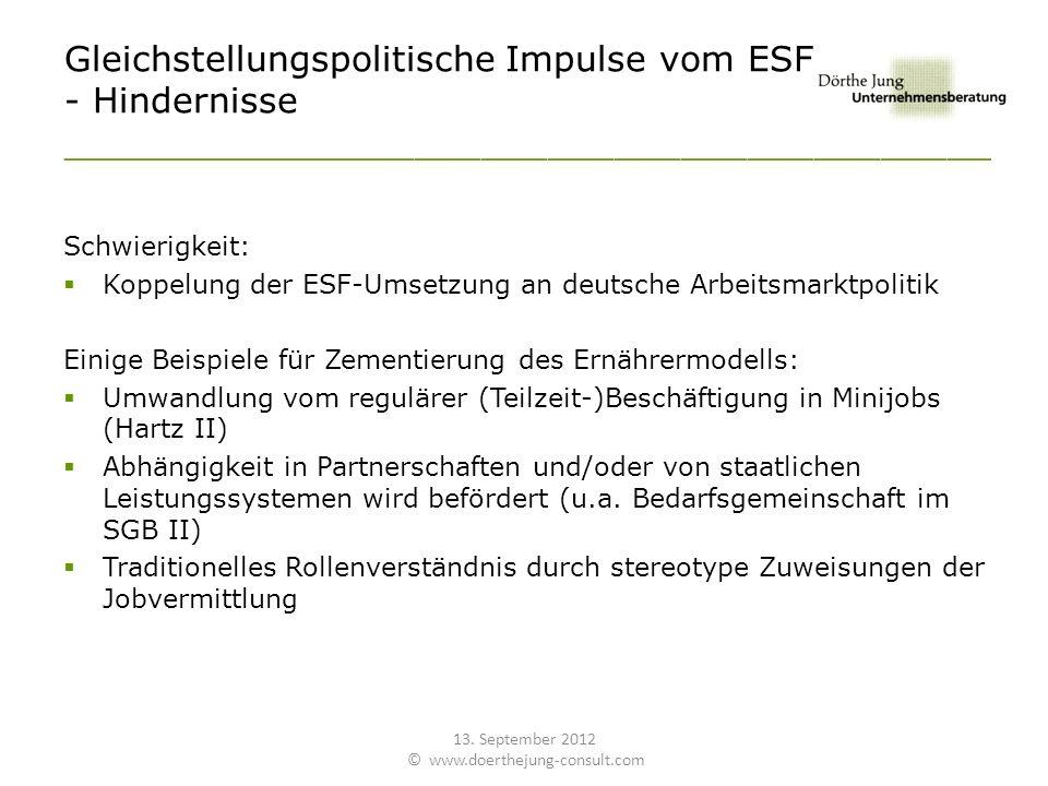 Gleichstellungspolitische Impulse vom ESF - Hindernisse __________________________________________ Schwierigkeit: Koppelung der ESF-Umsetzung an deutsche Arbeitsmarktpolitik Einige Beispiele für Zementierung des Ernährermodells: Umwandlung vom regulärer (Teilzeit-)Beschäftigung in Minijobs (Hartz II) Abhängigkeit in Partnerschaften und/oder von staatlichen Leistungssystemen wird befördert (u.a.