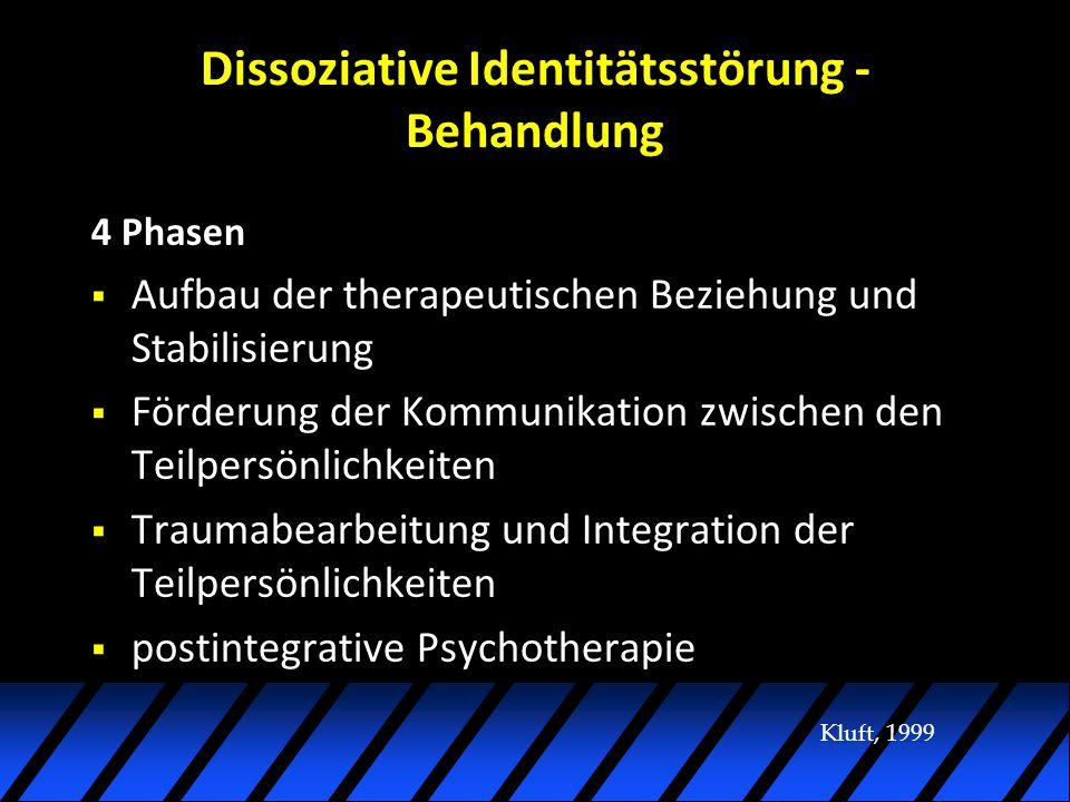 Dissoziative Identitätsstörung - Behandlung 4 Phasen Aufbau der therapeutischen Beziehung und Stabilisierung Förderung der Kommunikation zwischen den Teilpersönlichkeiten Traumabearbeitung und Integration der Teilpersönlichkeiten postintegrative Psychotherapie Kluft, 1999