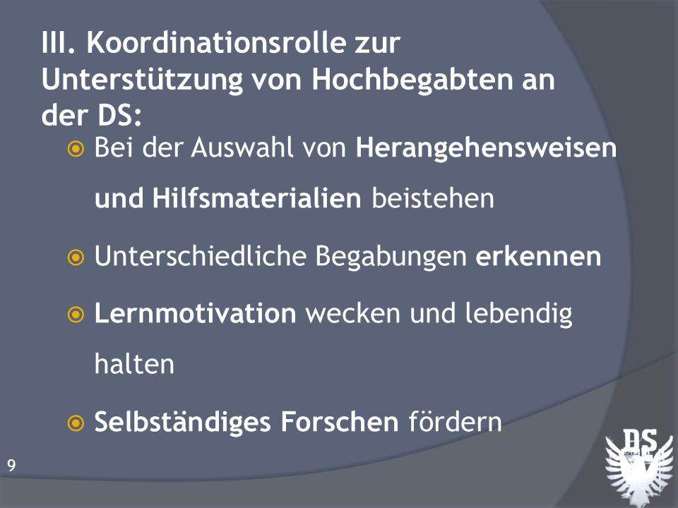 III. Koordinationsrolle zur Unterstützung von Hochbegabten an der DS: Bei der Auswahl von Herangehensweisen und Hilfsmaterialien beistehen Unterschied