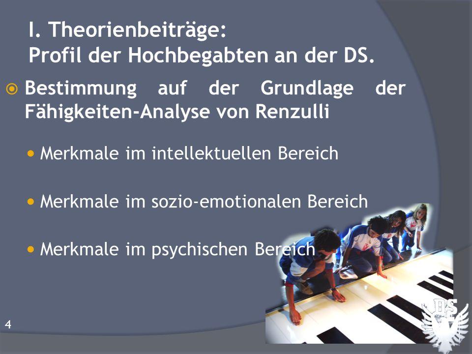 I. Theorienbeiträge: Profil der Hochbegabten an der DS. Bestimmung auf der Grundlage der Fähigkeiten-Analyse von Renzulli Merkmale im intellektuellen
