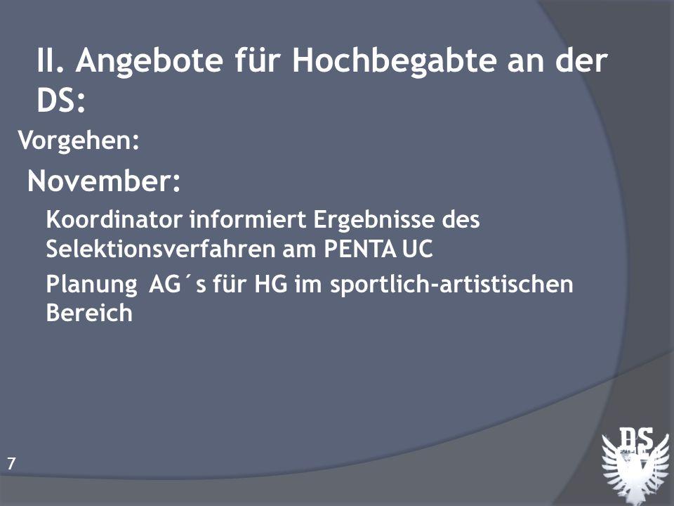 Vorgehen: November: Koordinator informiert Ergebnisse des Selektionsverfahren am PENTA UC Planung AG´s für HG im sportlich-artistischen Bereich 7 II.
