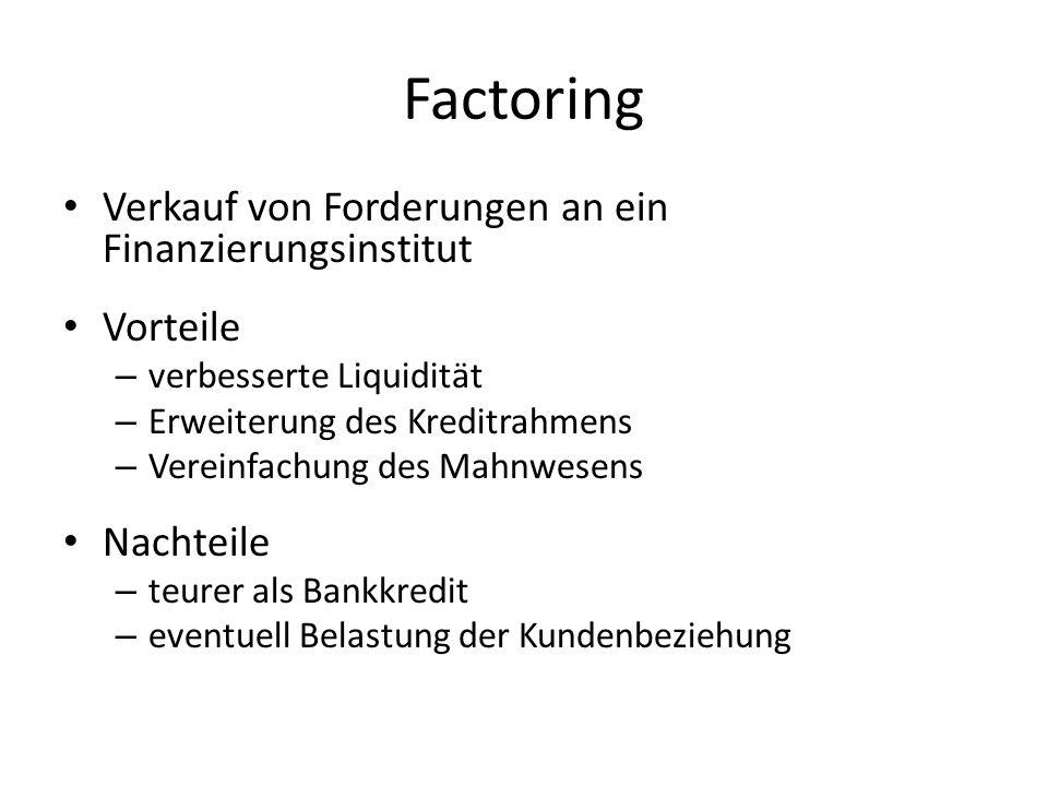 Factoring Verkauf von Forderungen an ein Finanzierungsinstitut Vorteile – verbesserte Liquidität – Erweiterung des Kreditrahmens – Vereinfachung des M
