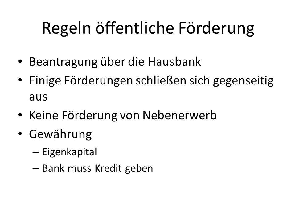 Regeln öffentliche Förderung Beantragung über die Hausbank Einige Förderungen schließen sich gegenseitig aus Keine Förderung von Nebenerwerb Gewährung