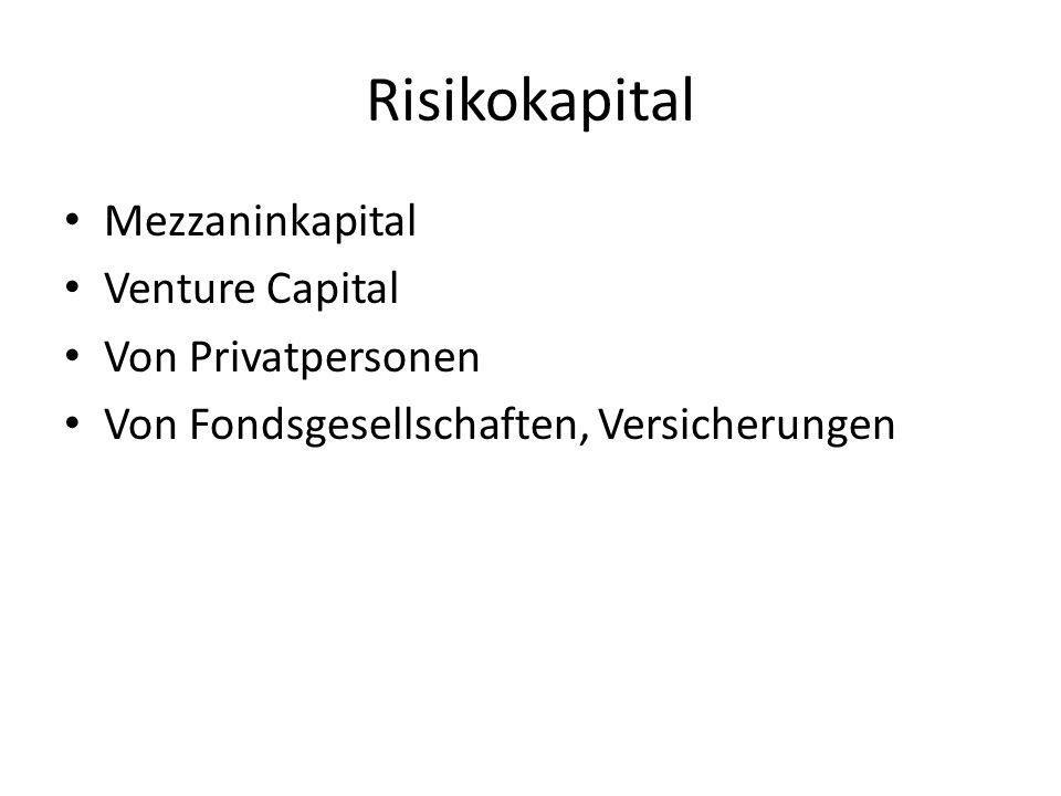 Risikokapital Mezzaninkapital Venture Capital Von Privatpersonen Von Fondsgesellschaften, Versicherungen